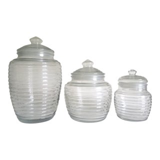 Vintage Mid Century Modern Ribbed Glass Canister Jars - Set of 3