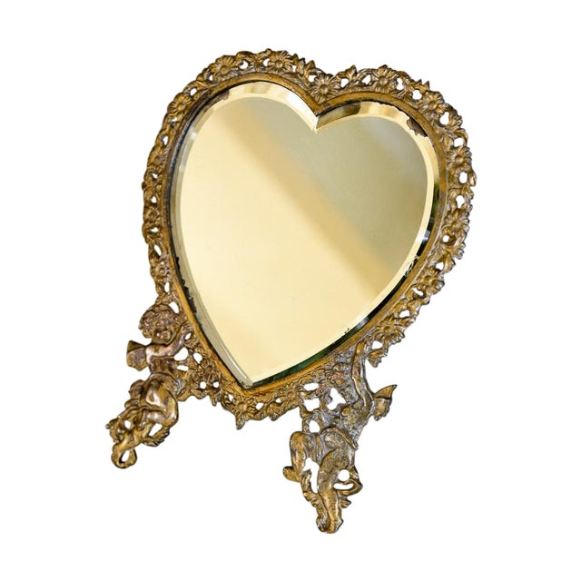 Large Victorian Heart-Shaped Easel Mirror - Image 1 of 6