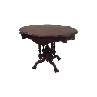Antique Highly Carved Walnut Turtle Top Table