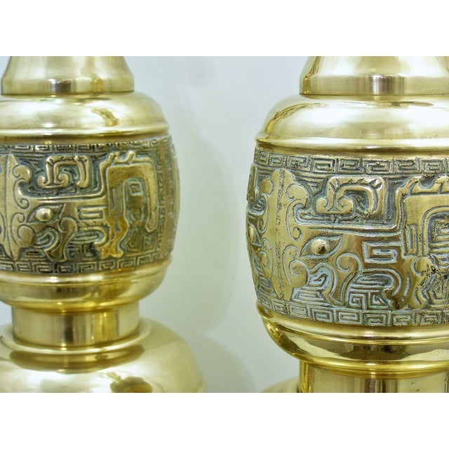Monumental Large Asian Brass Table Lamps Mid-Century Modern McM- a Pair - Image 7 of 11