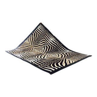 Patchwork Leather Trimmed Zebra Hide Area Rug- 8′6″ × 10′7″