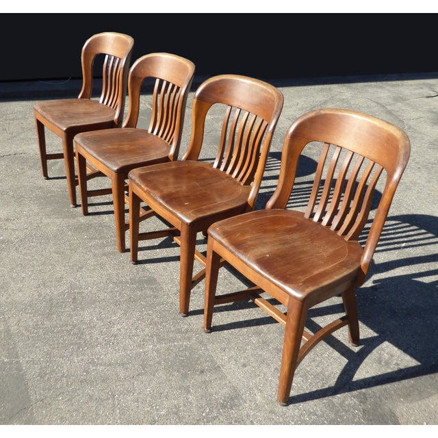 Set of 4 Vintage Mid-Century Brown Solid Wood Farmhouse Chic Library School House Chairs - Image 4 of 11