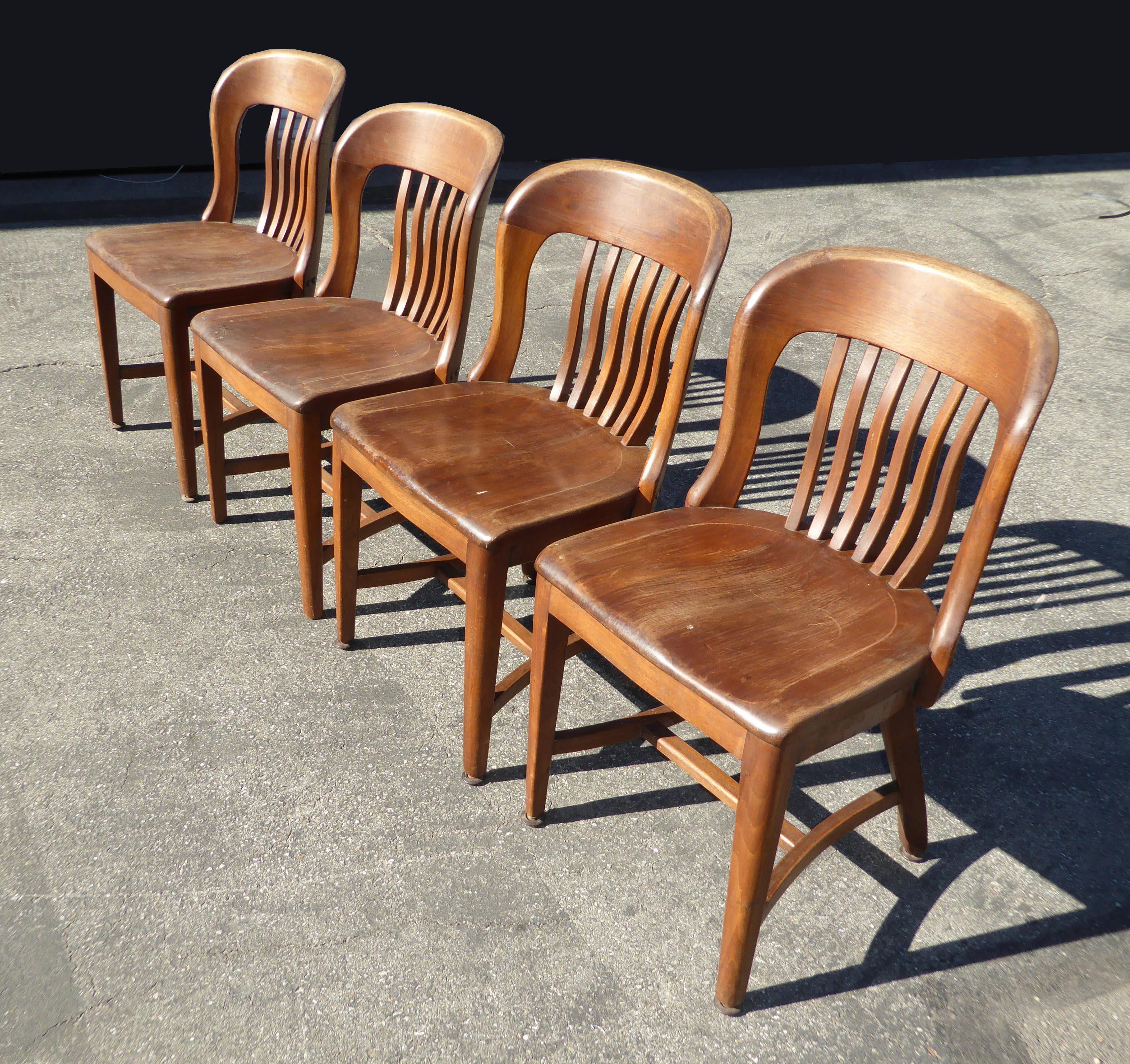 Elegant Set Of 4 Vintage Mid Century Brown Solid Wood Farmhouse Chic Library School  House Chairs