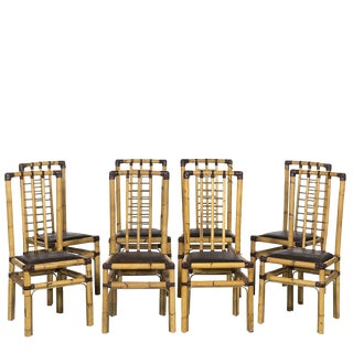 Rattan & Brass Wrapped Leather Dining Chairs (8), Circa 1970