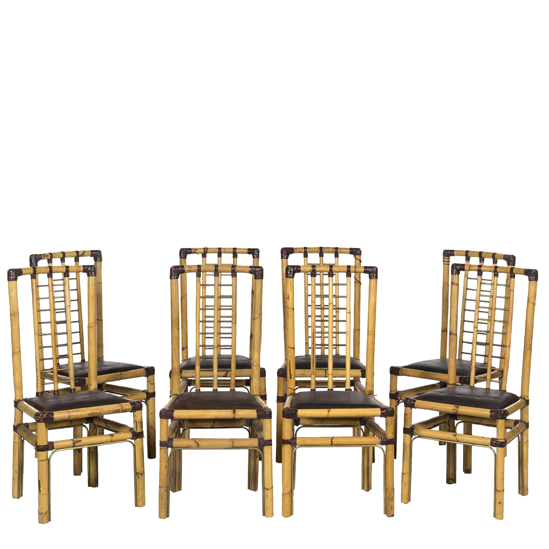 rattan u0026 brass wrapped leather dining chairs 8 circa
