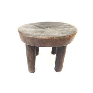 Vintage African Carved Wood Milk Stool