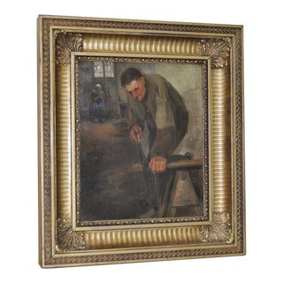 """The Carpenter"" Antique Dutch Painting by Hertz"