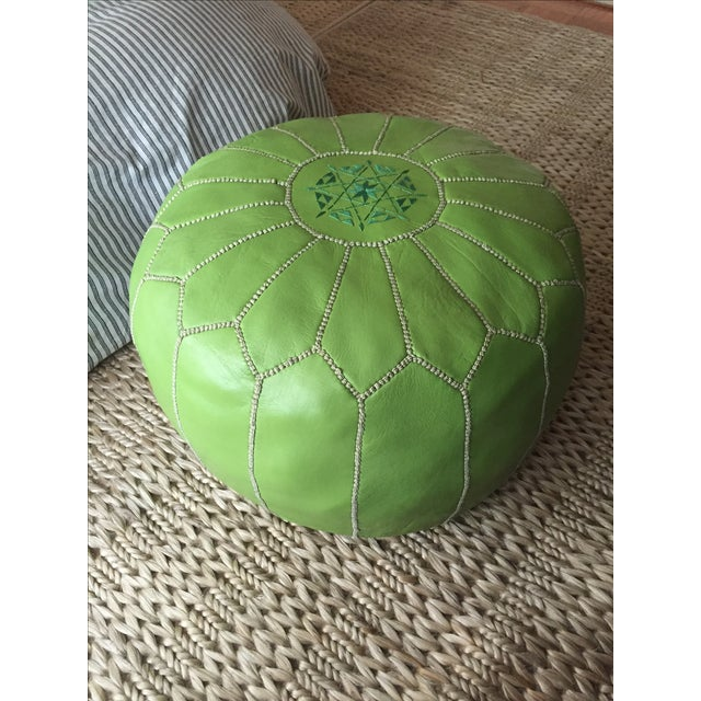 Green Moroccan Leather Pouf - Image 2 of 5
