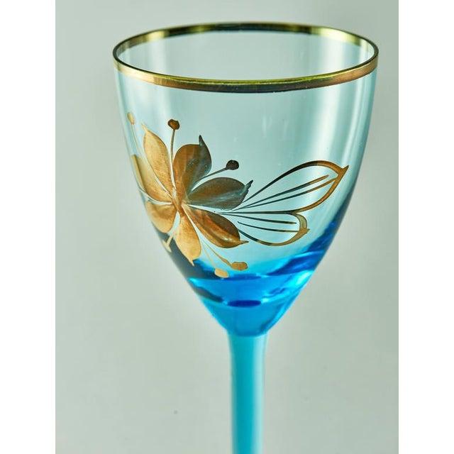 Sea Blue & Gold Leaf Decanter & Glassware Set - Image 9 of 10