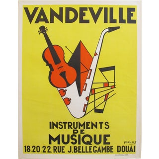 1950s French Music Poster, Vandeville Instruments