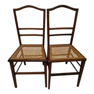Cane Seat Wood Chairs - A Pair