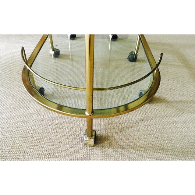 Vintage Triple Tiered Brass Swivel Bar Cart - Image 7 of 11