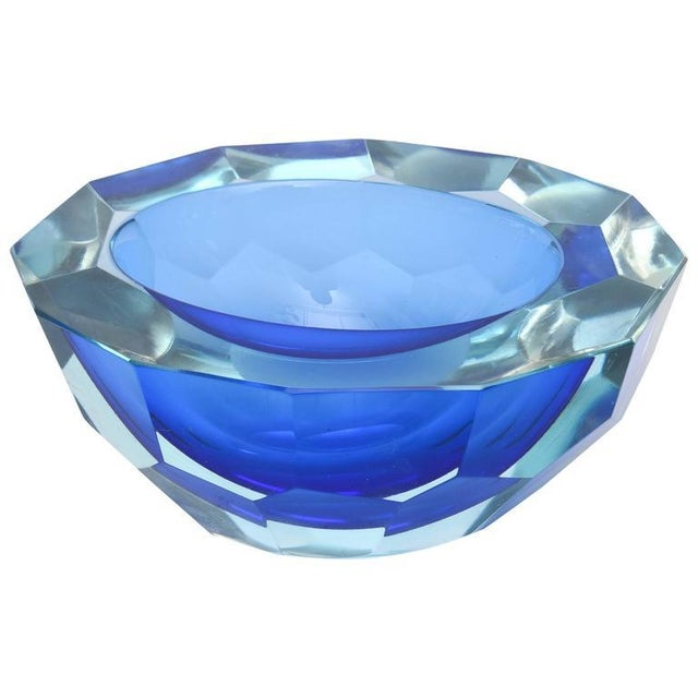 Italian Murano Sommerso Diamond Faceted Flat Cut Polished Glass Geode Bowl - Image 1 of 9
