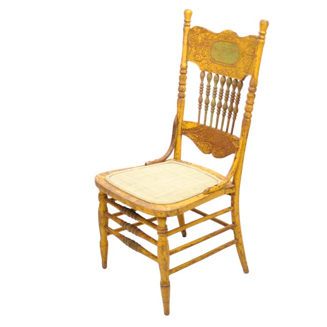 Antique Yellow Painted Chair - Image 1 of 6