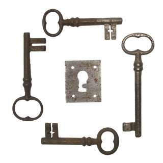 French Skeleton Keys & Escutcheon Plate - Set of 5