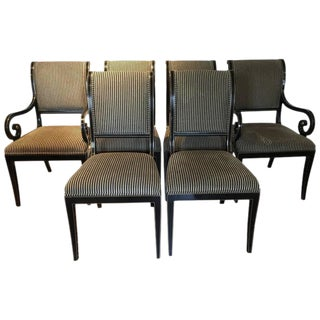Kindel Regency Style Black & Gold Dining Chairs - Set of 6