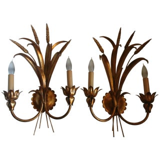 60s Italian Gilt Wheat Sheaf Wall Sconces - Pair