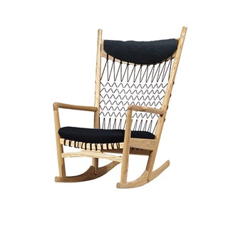 Hans Wegner Style Macrame & Wood Rocking Chair