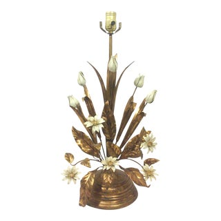 Italian Gilt Tole Lamp With Daisies and Tulips