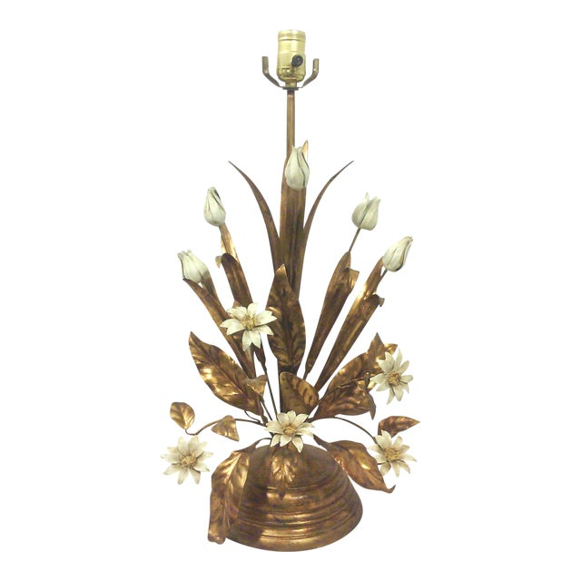 Italian Gilt Tole Lamp With Daisies and Tulips - Image 1 of 6