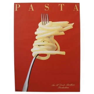 1986 French Art Deco Poster, Pasta: An Al Dente Brothers Production