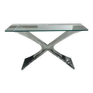 Contemporary Lucite X Base Console Table