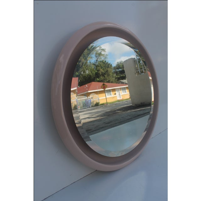 Vintage Ceramic Round Beveled Wall Mirror - Image 4 of 10