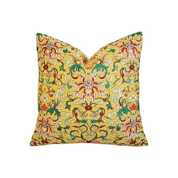 Custom Asian Yellow Floral Linen Pillows - A Pair - Image 2 of 7