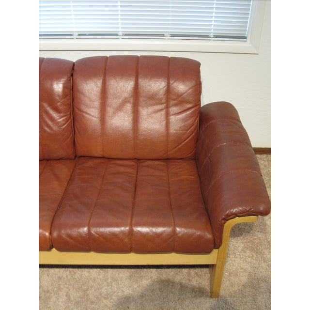 Red-Brown Leather Midcentury Modern Sofa - Image 8 of 11