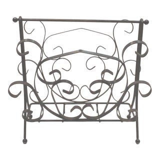 Spanish Revival Iron Scroll Magazine Rack