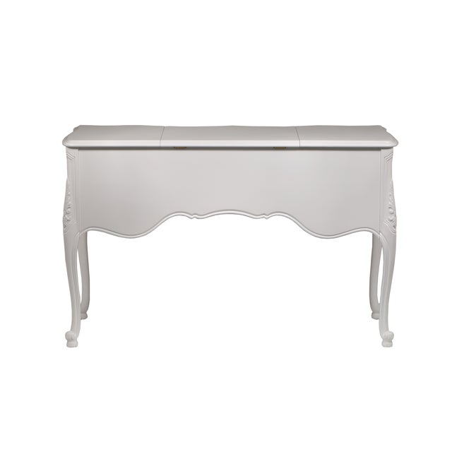 Vintage French-Style White Vanity Desk with Mirror - Image 3 of 7