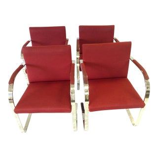 Vintage Knoll Brno Flat Upholstered Arm Chairs - Set of 4
