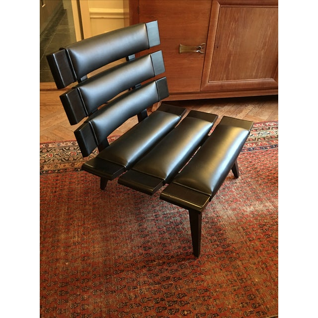 Arteriors Wood & Leather Slatted Chair - Image 2 of 6