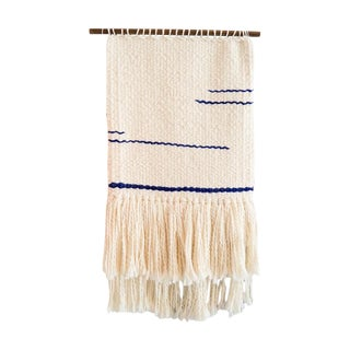 Handwoven Indigo & Cream Wall Hanging