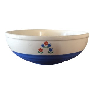 Vintage Blue & White Pottery Serving Bowl