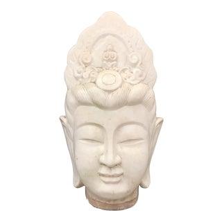 Large Ivory Majolica Buddha Quan Yin Head