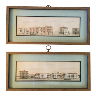 #3 & #4 Venice Architectural Studies - Hand Colored - a Pair