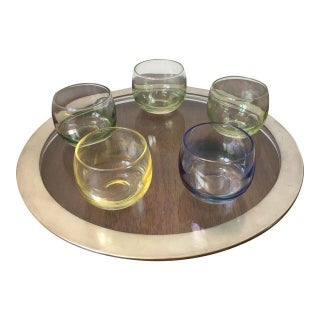 Tray with Silver Rim and Multicolor Glasses - Set of 6
