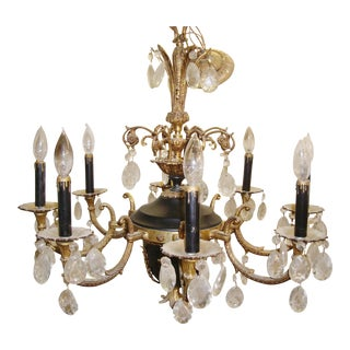 French 8 Arm Brass Chandelier