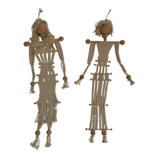 Macrame Wall Hanging Figures - A Pair