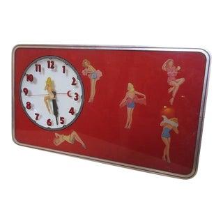 1950s Pin-Up Girls Lighted Clock, All Original!