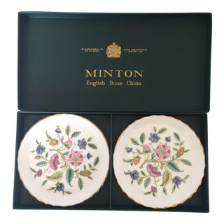 Minton Bone China Butter Pat Plates - A Pair
