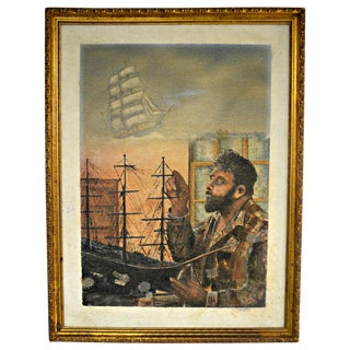 Sailboat Model Oil Painting on Burlap