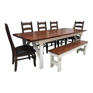 Contemporary Rustic Custom Handmade Farm Table, Bench & Ladderback Chairs