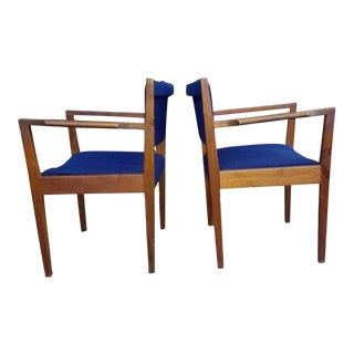 Jens Risom Walnut & Blue Tweed Chairs - a Pair