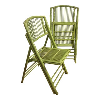 Bamboo Folding Chairs - A Pair