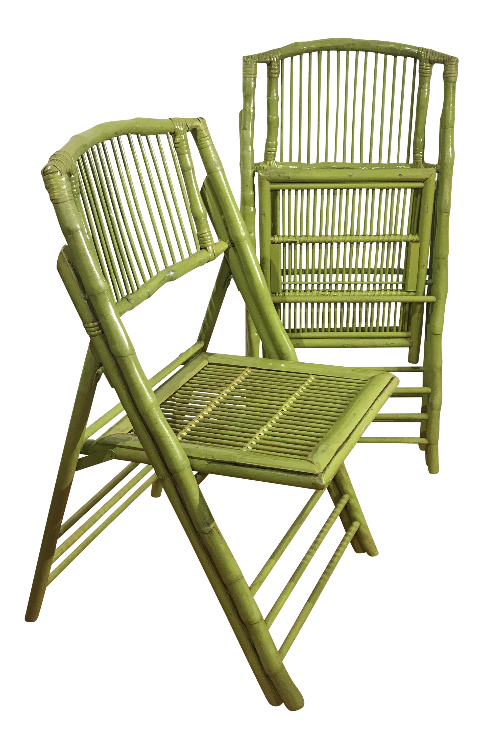 bamboo folding chairs a pair