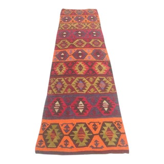 Vintage Turkish Kilim Runner - 2′9″ × 12′3″