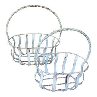 White Metal Oval Baskets - A Pair