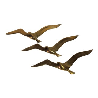 Mid Century Brass Seagulls Wall Decor - Set of 3